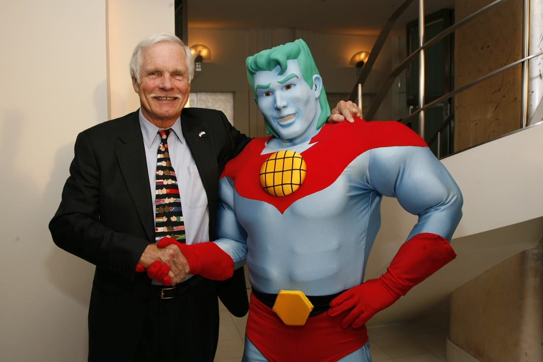 Ted Turner and Captain Planet at Gala