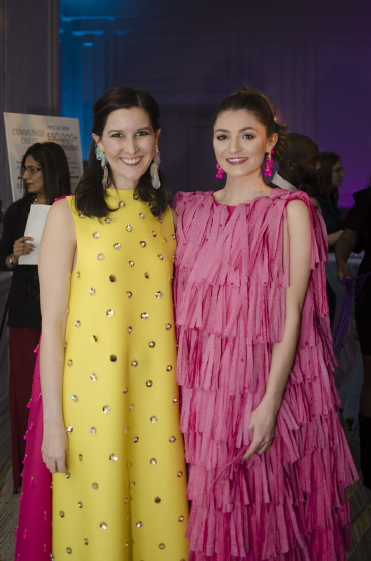FM Left: Caroline Ruder - Designer. Molly Moran - Model wearing dress designed by Caroline Ruder from Sparkle Cloths provided by Georgia Pacific.