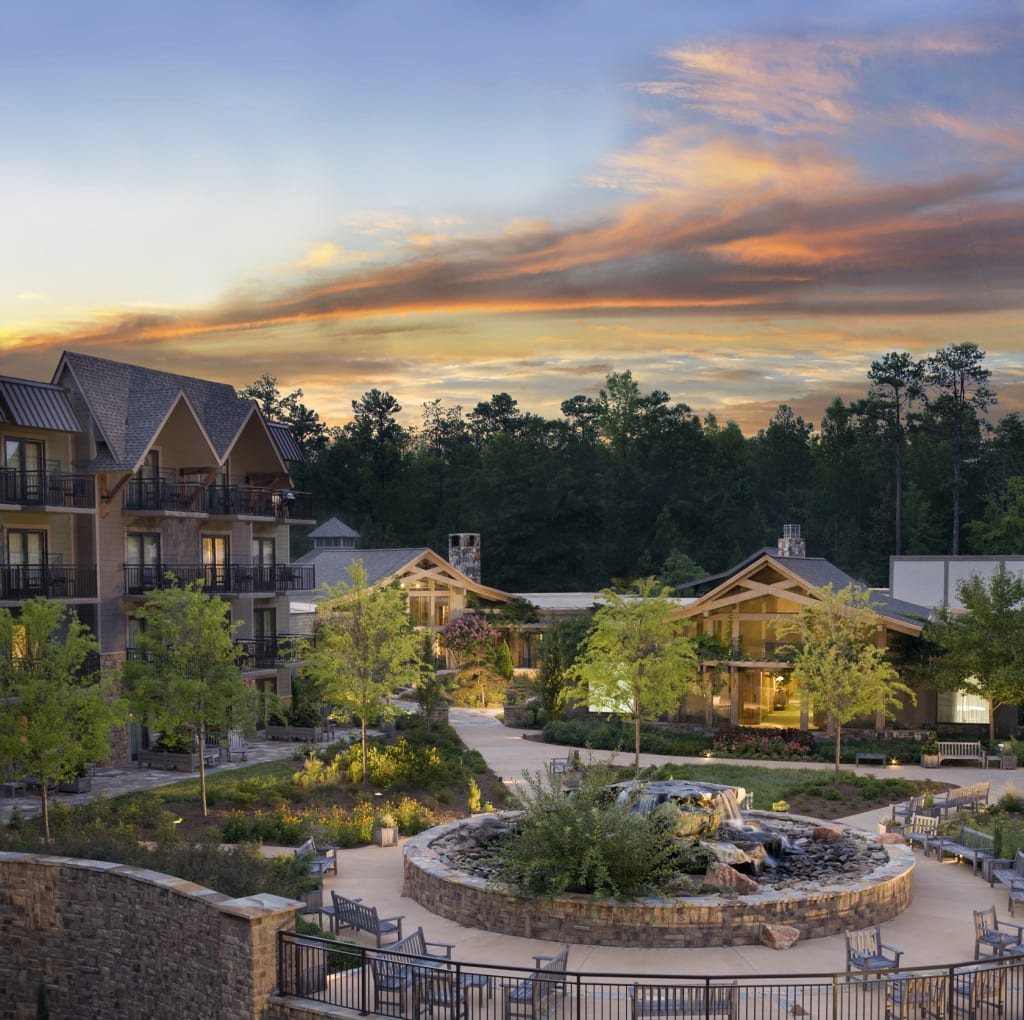 The Lodge and Spa at Callaway Gardens pays homage to the natural wonders of the Appalachian foothills with rich earth tones and architectural elements such as aged wood and fieldstone accents.
