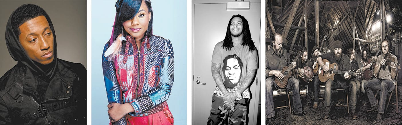 From rappers to rockers, musicians of all genres come home to Atlanta. From left to right: Lecrae, Jamie Grace, Waka Flocka Flame, Zac Brown Band. Right: Chubb Rock.