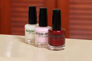 Dazzle Dry nail polish (featured from left to right: Artic Sunset, Strawberry Macaron and Feisty) dries in 5 minutes without UV &#091;...&#093; </p srcset=