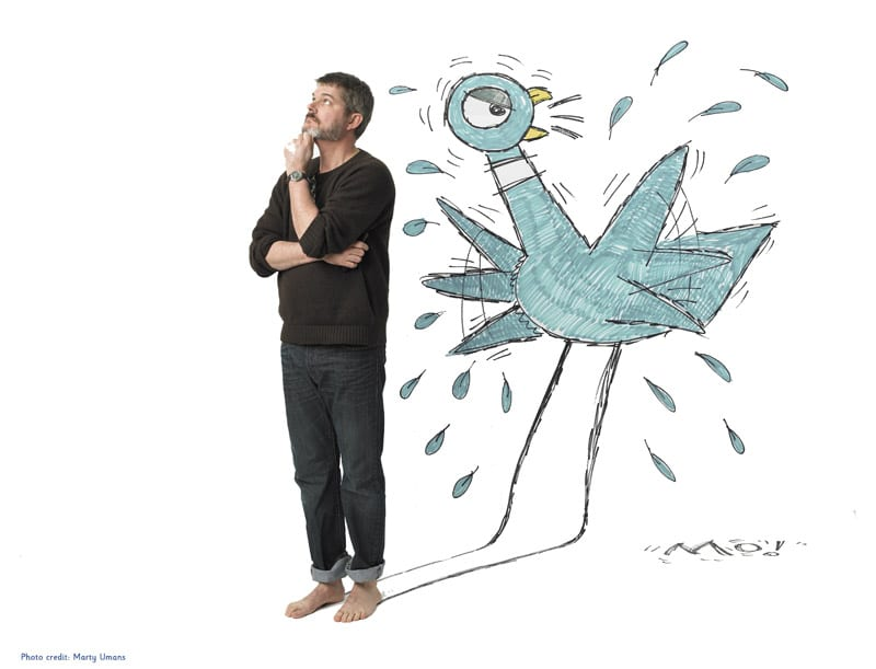 Mo Willems poses with his character, Pigeon. Photo: Marty Umans
