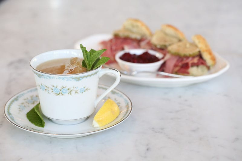 The Grit & Grace harks back to Prohibition, when gin was concealed in teacups. Cheddar biscuits with Benton's ham and blackberry jam are a classic accompaniment.