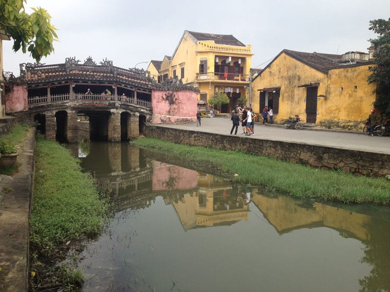 The Japanese Covered Bridge is a centerpiece in Hoi An's UNESCO World Heritage designated downtown and a visible reminder of the town's port city past.