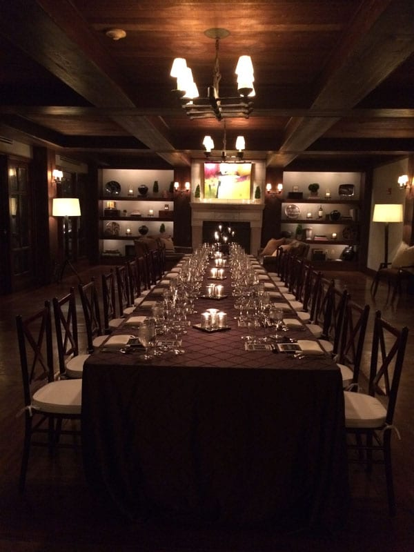 "The ""Dust on the Bottle"" wine dinner was set in the Inn's candlelit cellar."