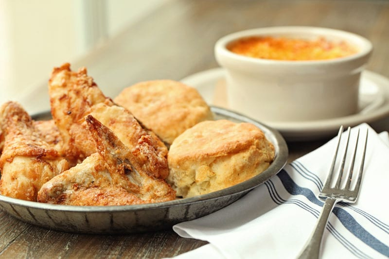The famous fried chicken at Watershed on Peachtree is served with biscuits and honey; you'll want to ask for a side of mac and cheese, too.