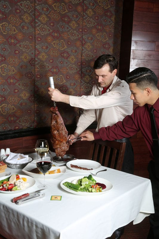 Gauchos deliver the meat like this bottom sirloin tableside.