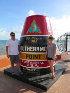 The writer and her husband stand as far south as you can go on land within the continental U.S. of A.