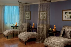 The spa lounge is a splendid place to wile away the minutes before and after treatments.