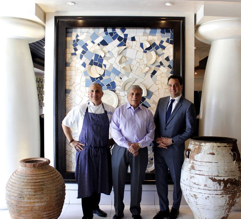Chef Pano (center) with sons and employees Pano Jr. (left) and Niko (right).