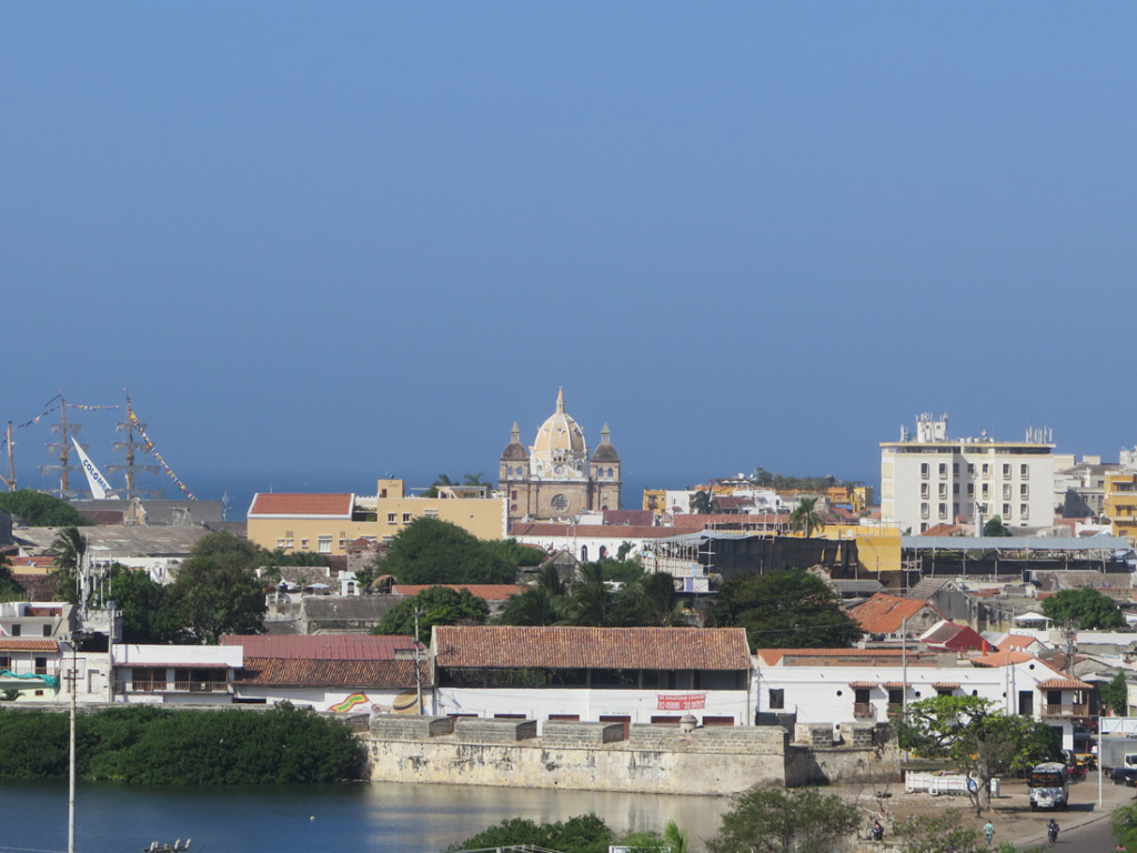 A view of Cartagena's Old Town with the Getsemani neighborhood in the forefront and El Centro just behind it.