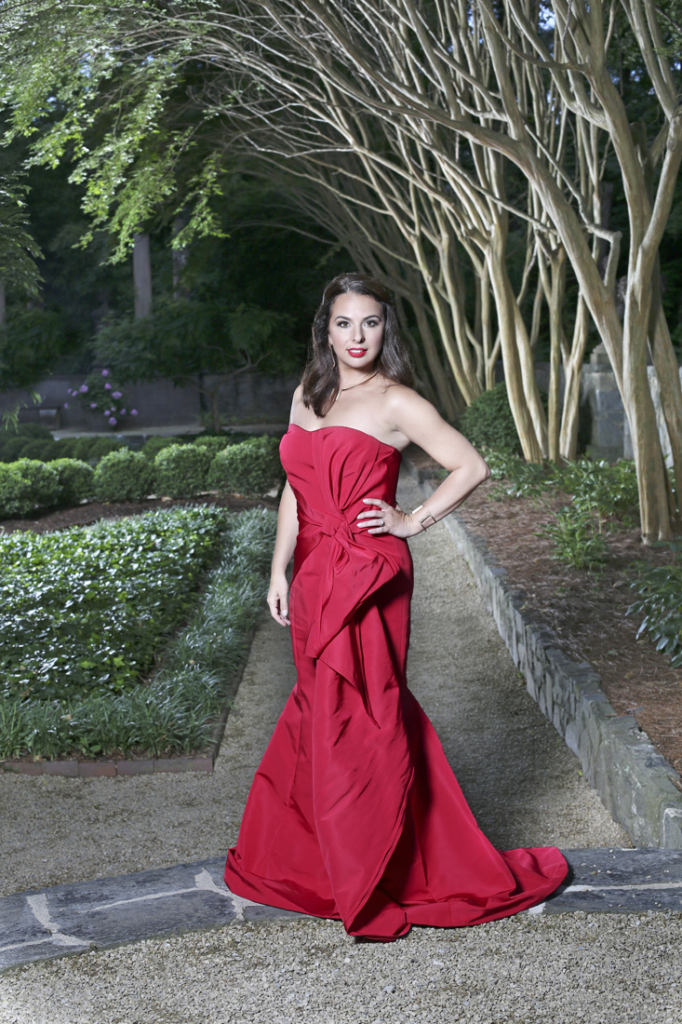 Wardrobe: Dress (Rachel Gilbert LLC, $2,250), Neiman Marcus; jewelry (necklace,earrings and bracelet) Kendra Scott