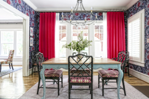 After going through tons of wallpaper and hanging samples on the wall, Hazel and Lindquist fell in love with the blue and pink pomegranate wallpaper that sets a festive tone in the dining room.