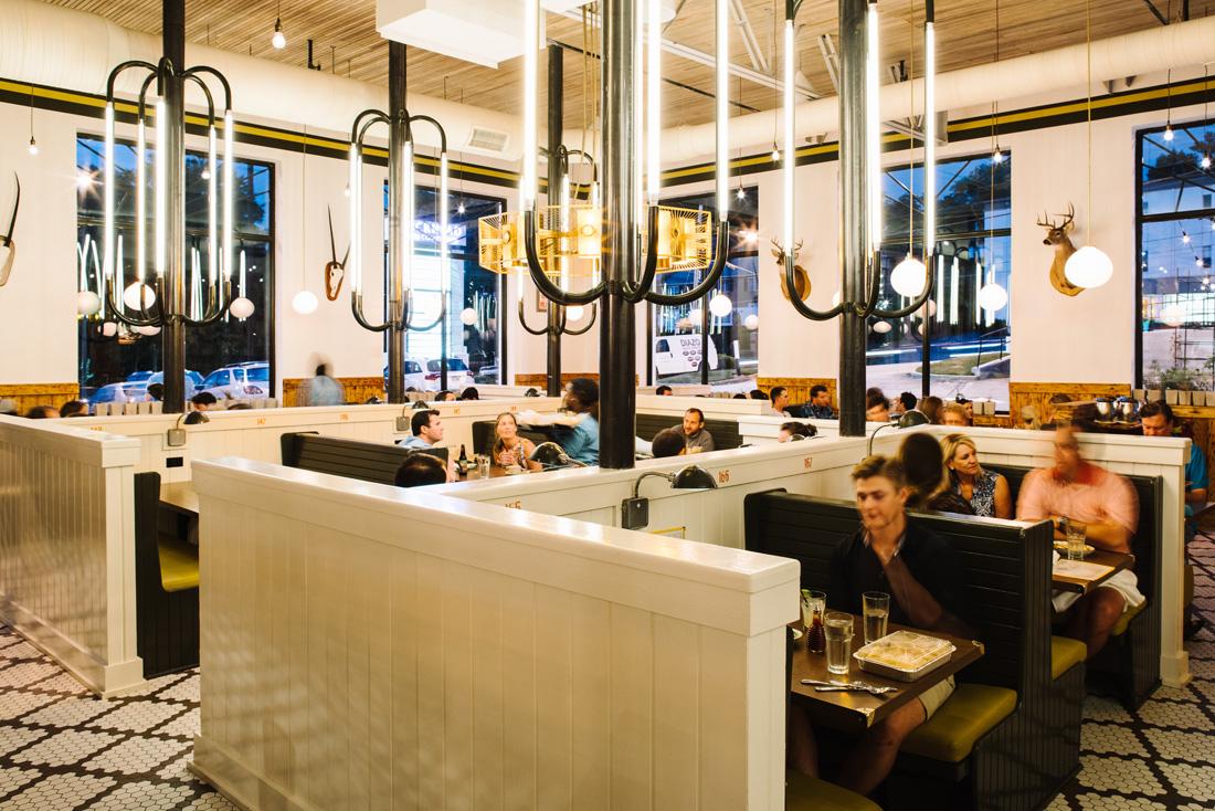 Designer Elizabeth Ingram created Superica's mid-century ranch-style dining room