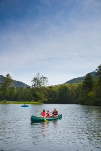 A 35-acre lake provides opportunities for water sports and serves as the swimming hole during the warmer months.