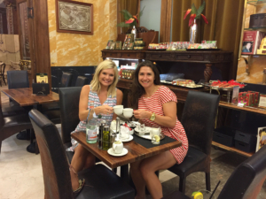 The writer and her traveling partner in crime, Lindsey Licht, share dessert at Szamos Gourmet Palace in Budapest.