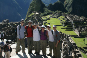 at Macchu Picchu after hiking the Inca Trail.
