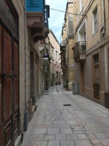 A typical narrow, romantic street in Malta's capitol, Valletta.