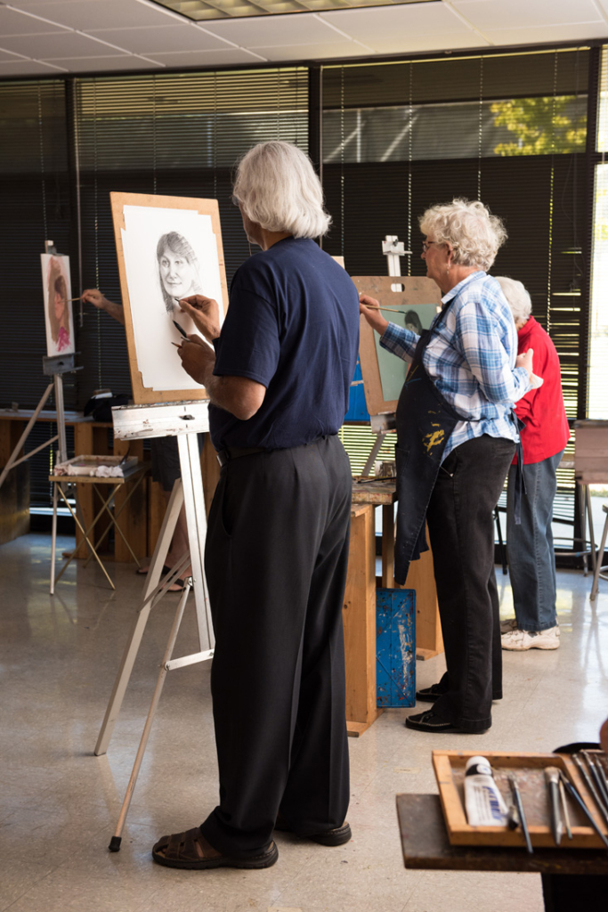 Members of the Saturday morning class work without an instructor, hire their own models and offer critiques and support to each other.