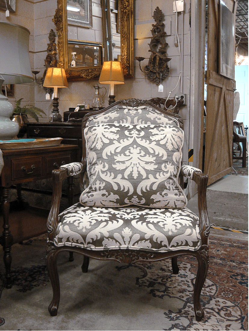One Of A Pair Of Councill Bergere Chairs Upholstered In Scalamandre Fabric,  Available At Now U0026 Again.