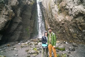 The writer and her husband at the foot of Tululusia Falls.