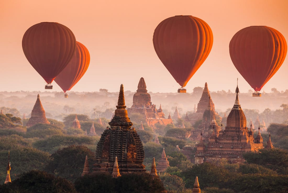 A hot air balloon ride provides a panoramic view of Myanmar's ancient pagodas.