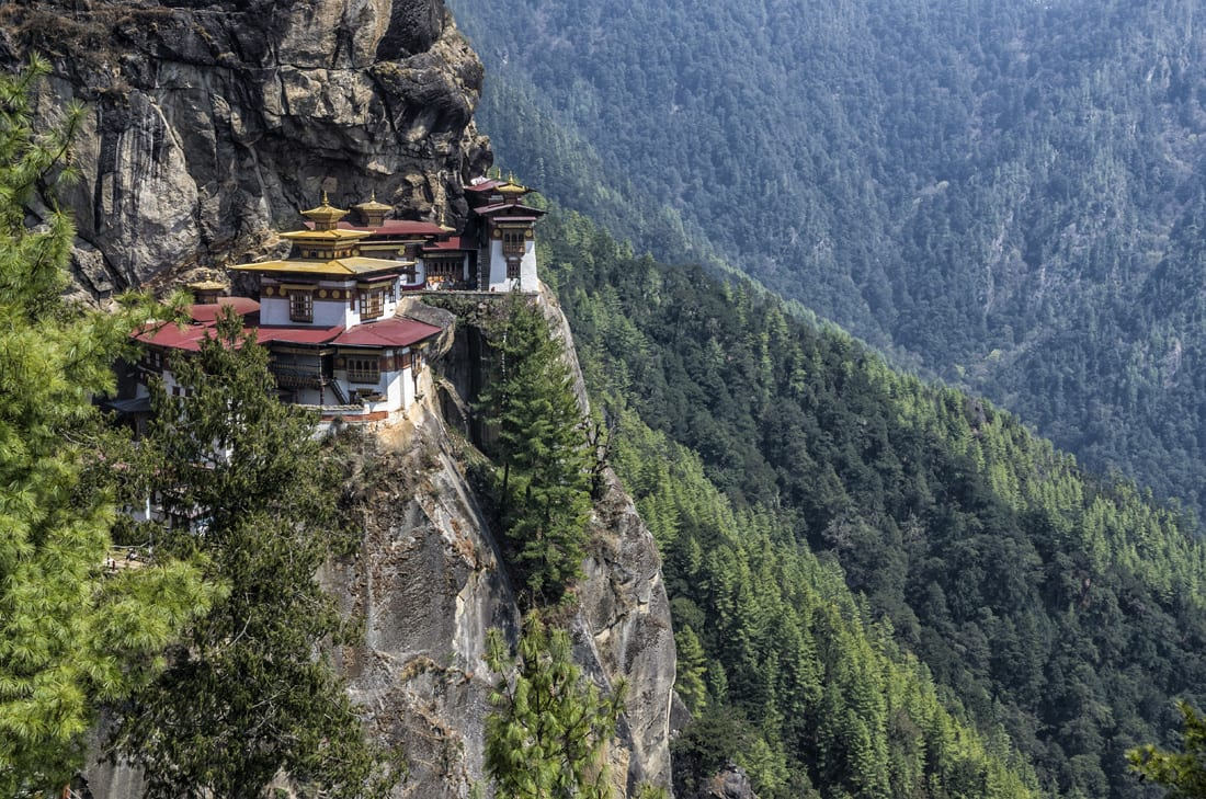 Tiger's Nest, a temple perched precariously on a cliff outside Paro, is perhaps Bhutan's most famous site.