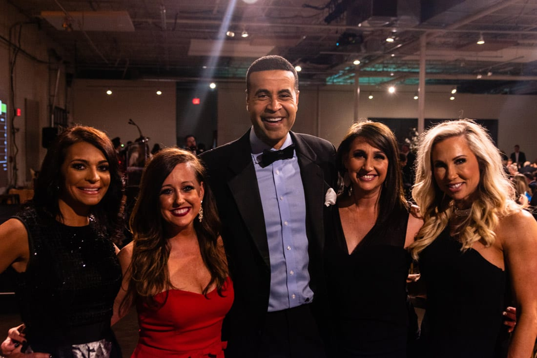 Simply Buckhead Magazine Enduring Hearts Bourbon Gala & Auction February 15, 2019 WSB-TV anchor Fred Blankenship (center) with fans.  Photo Credit: Henri Hollis