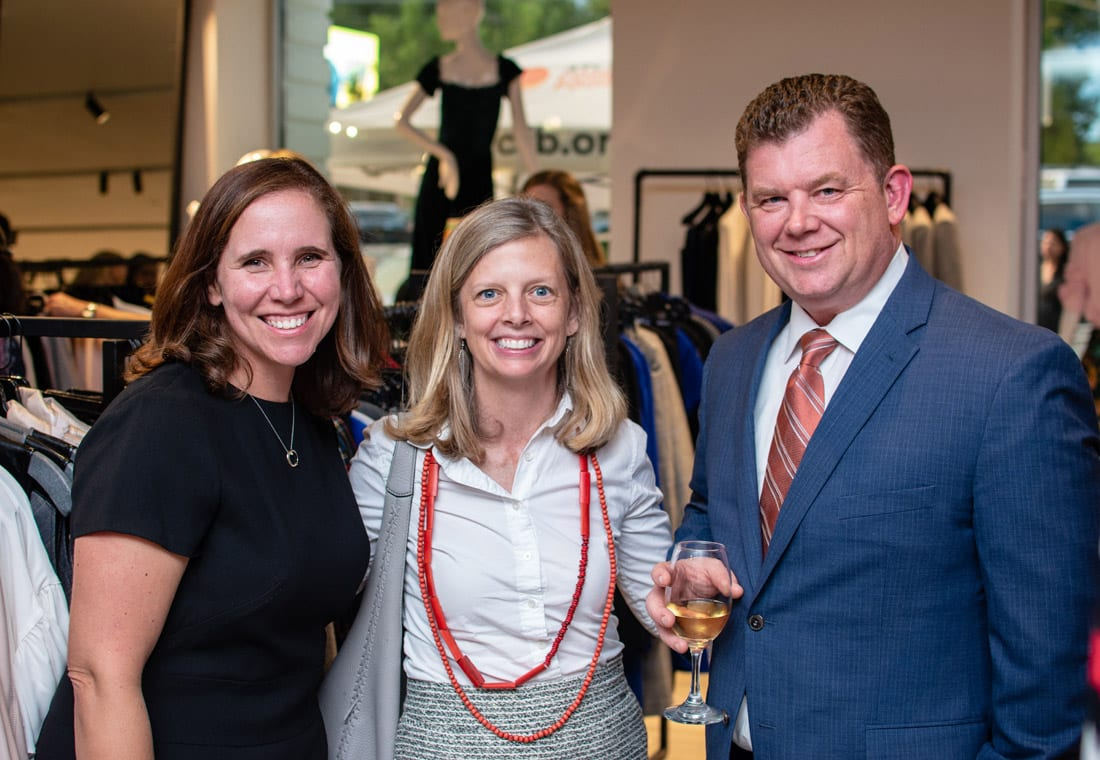 Simply Buckhead ACFB Fall for Fashion 2018 September 25, 2018 Caption: Sarah Fonder-Kristy, Caroline Wilbert and Kyle Waide enjoy the reception before the fashion show. Photo credit: Henri Hollis