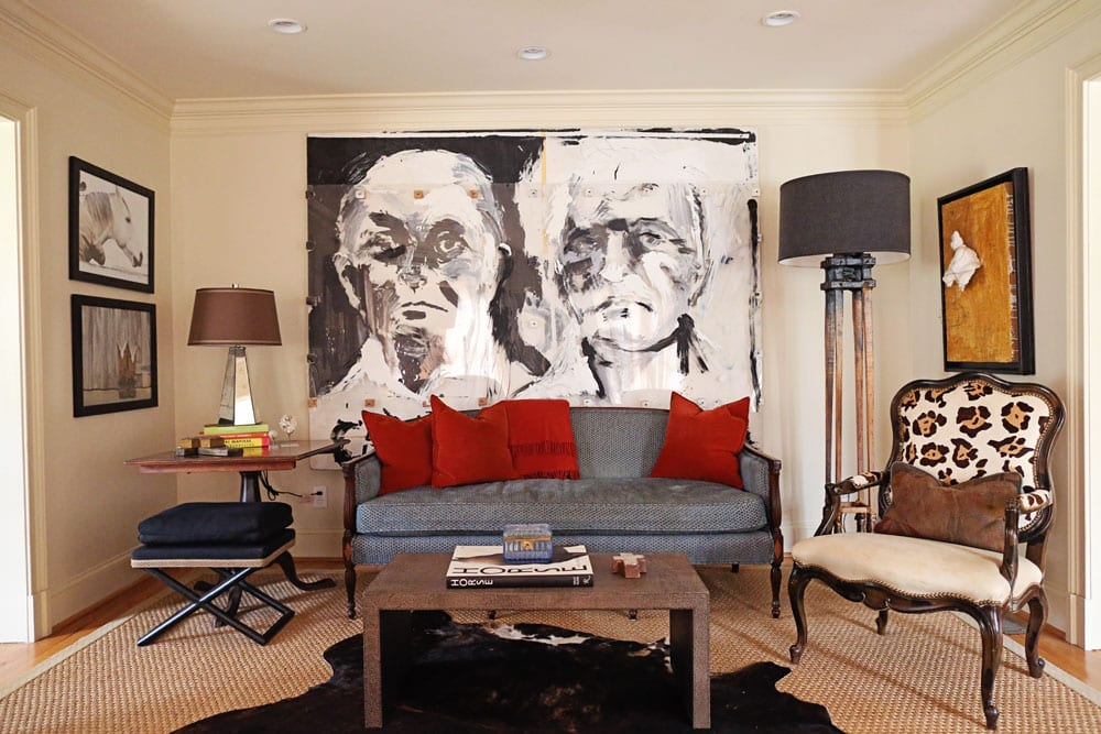 Farm-inspired adornments mix with some of the Cookes' favorite art pieces, including a large Todd Murphy behind the antique sofa, a work Bonnie and George purchased from the artist's personal collection right after college. The living room is also home to a shagreen coffee table from Huff Harrington Home and a floor lamp created from [...] </p srcset=