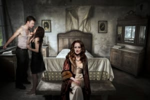 A Streetcar Named Desire's Blanche (Bowman) and the quarrelling Stanley (Matthew Davis) and Stella (Anne Marie Gideon).