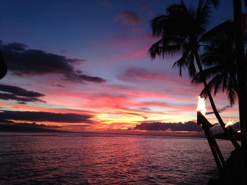 Sunset from the deck of Kimo's restaurant in Lahaina.