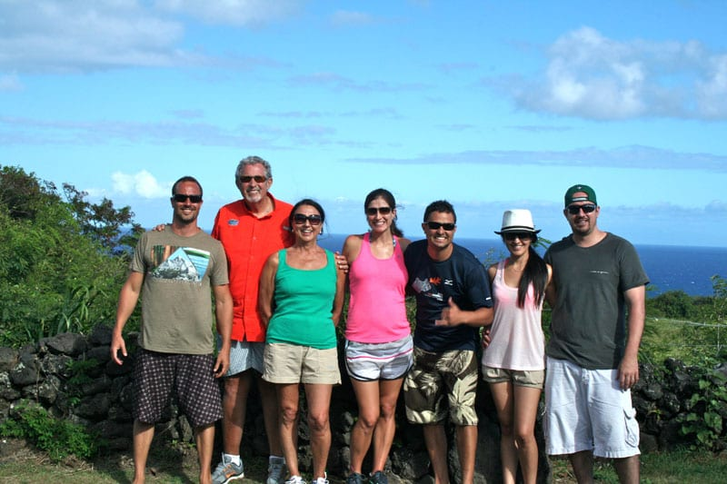 The author's Maui-loving family during a stop on the road to Hana.