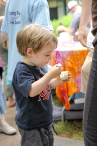All ages can enjoy tasting samples of homemade ice cream. All you need is a spoon!