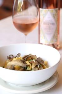 Boscaiola is a splendid seasonal dish of English peas, mushrooms, pancetta and cream stirred with tiny pasta shells.