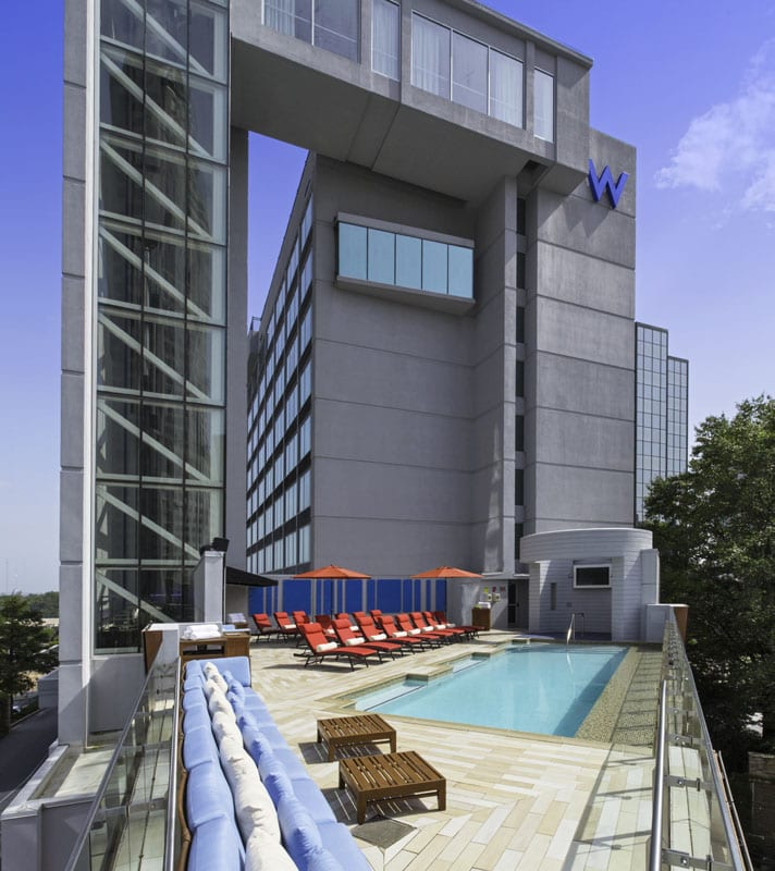 You don't have to check in to enjoy one of the W Atlanta-Buckhead hotel's gratis yoga or barre sessions, which are held next to the rooftop pool.