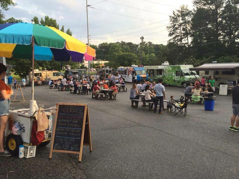 Local bands entertain the hungry diners sampling the fare at the midweek Brookhaven Food Truck Round-Up.