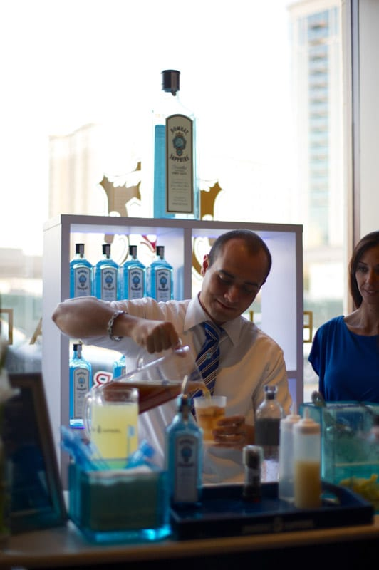 Bartenders pour more than 50 varieties of beer, wine and liquor, including Bombay Sapphire cocktails.