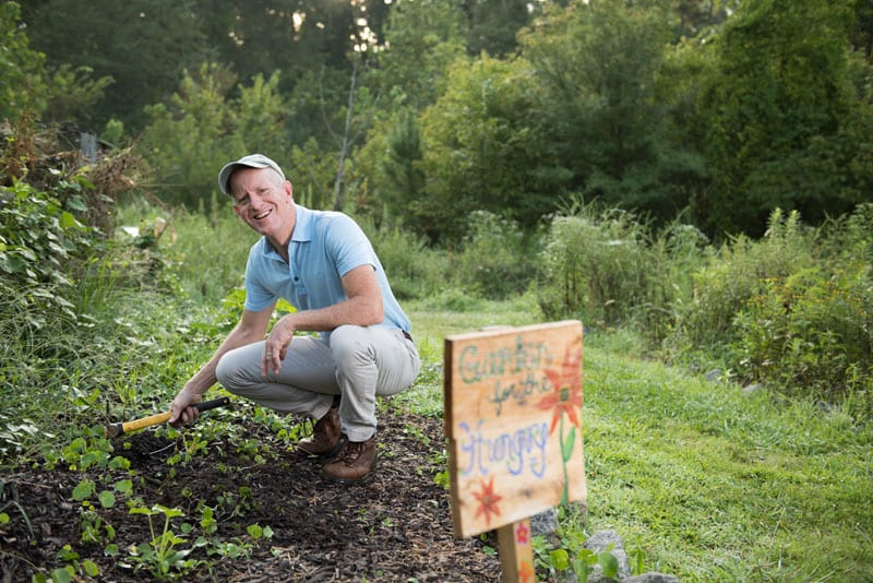Kevin McCauley, Project Director, in the BHNP Community Garden