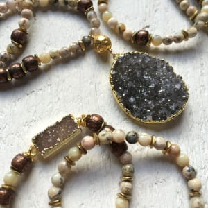Tibetan mantra (prayer) beads are highlighted in Mickey Lynn's summer 2016 collection