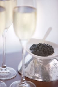 Champagne and caviar can be had at Sunday brunch or from the Friday Caviar Cart in the Club Level Lounge.