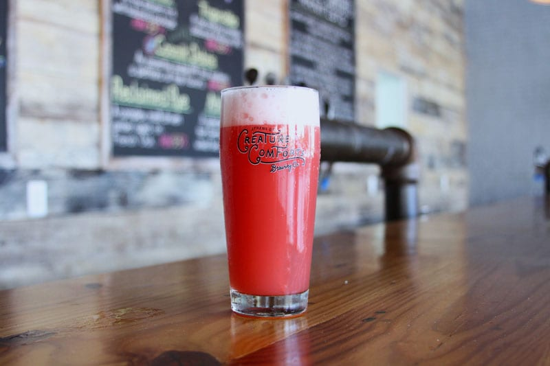 Creature Comforts offers a rotation of fruited berliner-weisse beers, like this Tart Cherry Athena Paradiso.