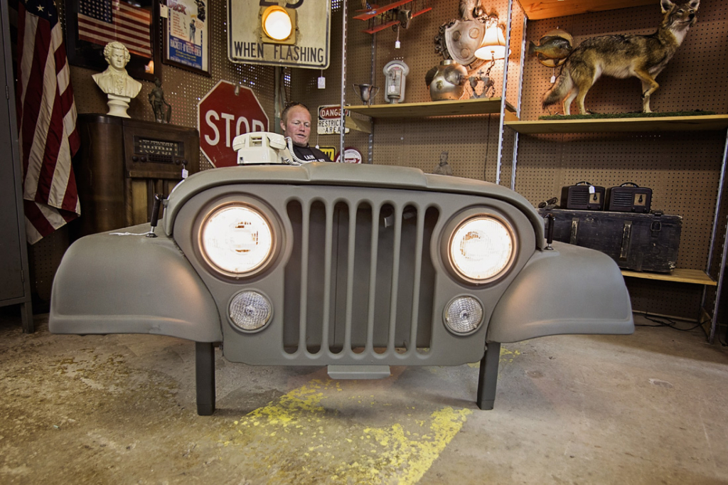 The body of a Jeep as a desk? Ian Henderson's Antique Mall has got one just for you.