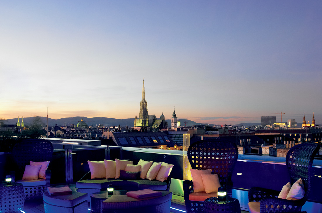 Atmosphere Rooftop Bar at The Ritz- Carlton Vienna is the perfect spot to take in sweeping views of the city over a cocktail.