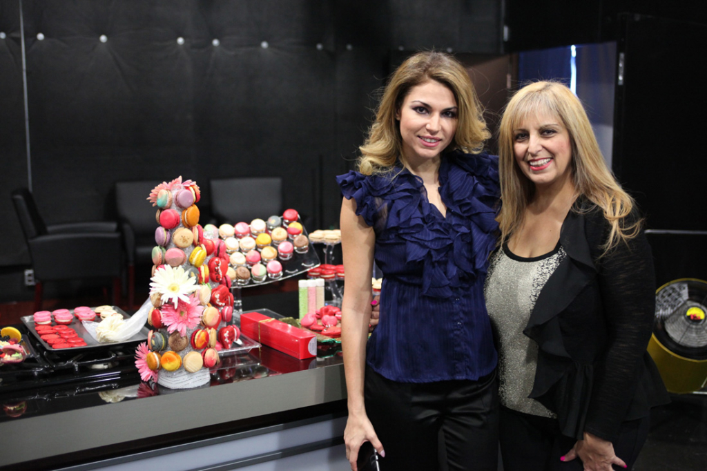 Finia Jahangard (right) and her daughter Nina at the Fox 5 Atlanta studios to promote the launch of Macaron Boutique and Bar at North Point Mall.