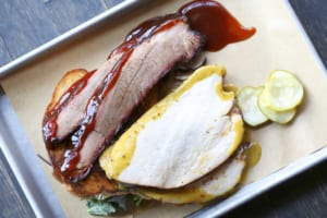 Terrific twofer: slices of smoked brisket and turkey on Smokebelly's Delta Double combo plate.