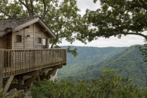 The three treehouses have private decks and stellar views of Kibler Valley.