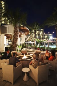 The outdoor fire pits are a great place to catch the hotel's nightly laser show.