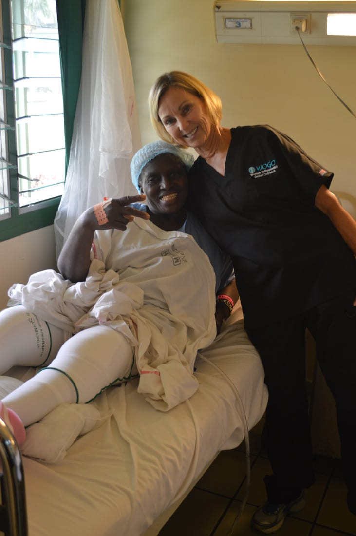 Volunteer Sylvia Tylka with a grateful patient at a hospital in the Congo.