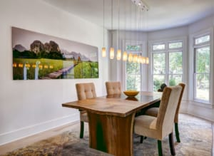 A local firm custom designed the dining room's light fixture.